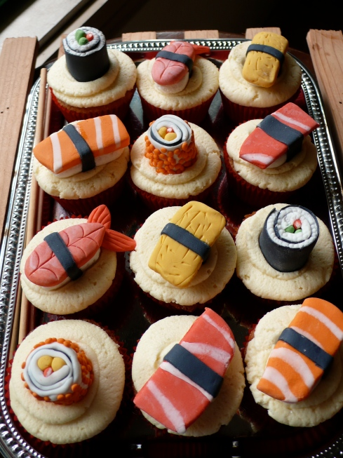 Sushi toppers on Red Velvet Cupcakes & Vanilla Buttercream Icing